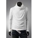 Men's Leisure Fashion Turtle Neck Long Sleeve Plain Tee Top