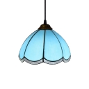 Simple Hanging Lamp with Tiffany-Style Scalloped Glass Shade