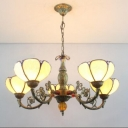 Lotus Shape Tiffany Style Stained Glass Lampshade Chandelier Light, 31