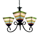 3-Light Tiffany Stained Glass Shade Inverted Chandelier in Black