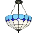 Mediterranean Style Tiffany Upward Semi Flush Mount Fixture, 12/16-Inch Wide Blue Glass Shade with Metal Chain