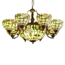 Classic Stained Glass 8 Arms Flower Chandelier with 12 Inches Inverted Chandelier