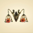 14-Inch Wide Tiffany Style 2-Light Wall Sconce Mermaid with Sunflower Embellished Glass Shade