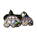 Baroque Tiffany Style Stained Glass Wall Sconce with Handmade Shade