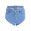 Zipper Back Plain Hot Pants Fringe Hem Denim Shorts