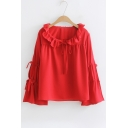 Ruffle Detail Round Neck Tied Embellished Long Sleeve Plain Blouse