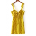 Polka Dot Printed Spaghetti Straps Sleeveless Tied Front Mini Cami Dress