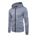 Contrast Striped Printed Long Sleeve Zip Up Hoodie
