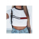 Color Block Striped Print Short Sleeve Cropped Tee