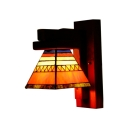Wood Base trapezoid Glass Shade Wall Sconce in Mediterranean Style