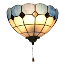 12-Inch Vintage Stained Glass Wall Lamp in Blue/Green/Orange with Pull Switch