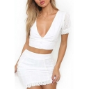 New Trendy Hollow Out V Neck Buttons Down Short Sleeve Cropped Top with Mini Skirt Co-ords