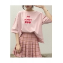 Letter Heart Embroidered Round Neck Short Sleeve Leisure Tee