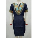Vogue Tribal Pattern V-Neck Short Sleeve Zip Back Pencil Midi Fashion Dress
