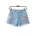 Summer Collection Floral Embroidered Zipper Fly Hot Pants Denim Shorts