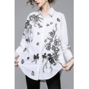 Elegant Floral Embroidered Lapel Collar Long Sleeve Buttons Down Tunic Shirt