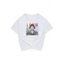New Arrival Movie Cartoon Character Letter Print Round Neck Summer Casual T-shirt