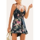 Summer Collection Spaghetti Straps Lace-up Detail Ruffle Trim Floral Print Romper