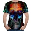 New Trendy 3D Fire Skull Printed Round Neck Short Sleeve Tee
