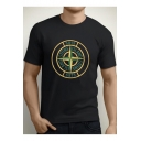 Cool Style Compass Letter Print Round Neck Short Sleeves Men's T-shirt