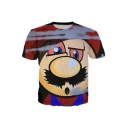 Funny Cartoon Print Round Neck Short Sleeves Casual Leisure Tee