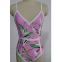 Fancy Floral Print Spaghetti Straps Basic Fashion One Piece Swimwear