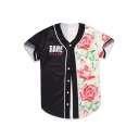 Color Block Floral Letter RARE Print Button Front Short Sleeve Baseball Tee Top