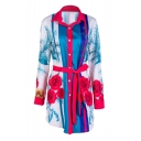 Popular Floral Print Color Block Lapel Button Front Belted Tunic Shirt