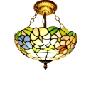 12/16-Inch Wide Tiffany Floral Theme Inverted Pendant Light in Floral Style, Antique Brass Finish