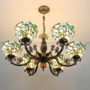 Vintage Floral Tiffany Inverted Stained Glass Shade, 6 Light