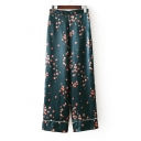 Leisure Comfort Floral Printed Zipper Side Wide Leg Loose Pants