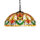 Colorful Dome Shade Tiffany 2 Light Pendant Light with Art Glass in Baroque Style, 16-Inch Wide