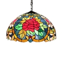 Floral Pattern Tiffany Dome Shaped Pendant Light with  Art Glass in Colorful Finish