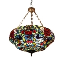 Chandelier for Decoration Dining Room Living Room with Stained Glass Flower Lampshade