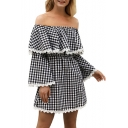 Gingham Plaids Off the Shoulder Ruffle Detail Lace Trim Mini A-line Dress