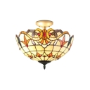 Brightly Hued Tiffany 2-Light Semi Flush Mount in Baroque Style, 16-Inch Wide, Multi-Colored
