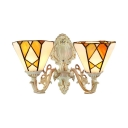 European Tiffany Style Double Light Inverted Orange Wall Sconce in 16.5-Inch Wide with White/Brass Lampbase