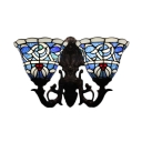 Blue Victorian Stained Glass Shade Indooor Sconce Lighting, Double Light