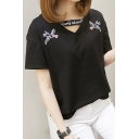 Floral Bird Printed Hollow Out V Neck Short Sleeve Leisure Tee