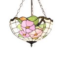 Lotus Theme Bowl Shaped Semi Flush Mount Light Tiffany Style Inverted Stained Glass Lampshade, 16