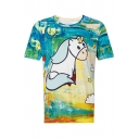 Spring's New Arrival Unicorn Printed Round Neck Short Sleeve Tee
