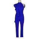 Plain One Shoulder High Neck Slim Ruffle Detail Jumpsuit