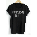 PROFESSIONAL NAPPER Letter Printed Round Neck Short Sleeve Tee