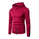 Color Block Zipper Embellished Long Sleeve Slim Hoodie