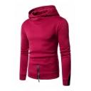 Color Block Zipper Embellished Long Sleeve Slim Hoodie