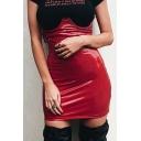 PU High Waist Plain Mini Pencil Skirt