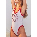 FAR OUT Letter Printed Contrast Trim Round Neck Sleeveless Bodysuit