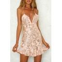 Sexy Spaghetti Straps Fashion Sequined Pattern Ruffle Hem Mini Cami Dress