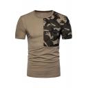 Color Block Camouflage Printed Round Neck Short Sleeve Slim Tee