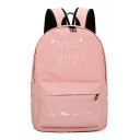 Cartoon Cat Letter Printed Zippered Backpack School Bag